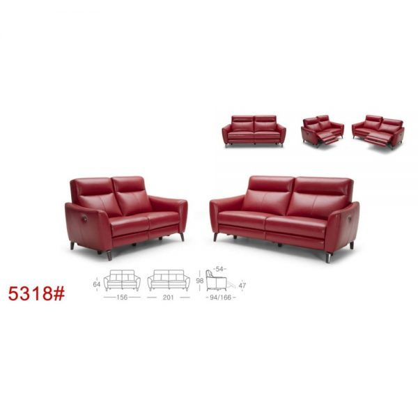 5318 - Electric Incliner Leather Sofa