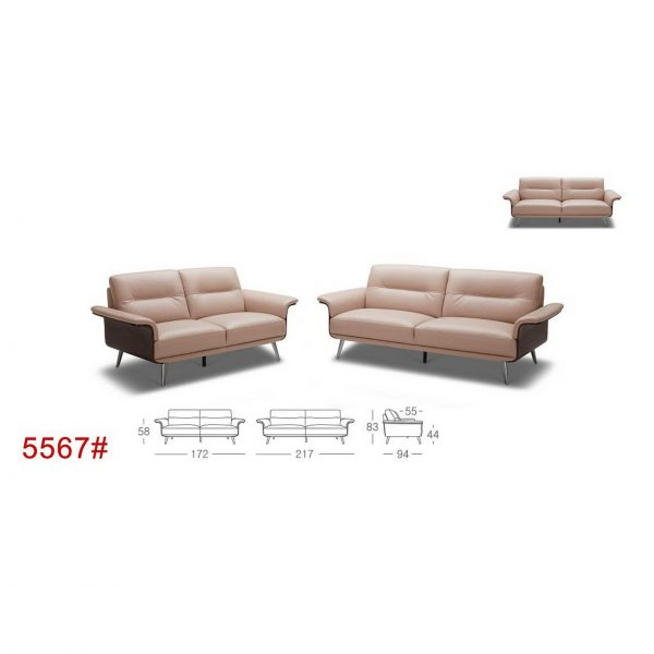 5567-Full cow-hide Leather Sofa