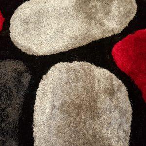 3D Shaggy carpet SR1345 Black+Red