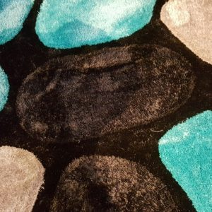 3D Shaggy carpet SR1345 Black/Turquoise